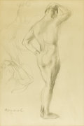 Latin American, ARMANDO MENOCAL (Cuban 1863-1942). Standing Male Nude.Pencil on Paper. 17-1/2 x 11-1/2 inches (44.5 x 29.2 cm). Signed...