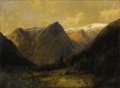 Fine Art - Painting, American, Attributed to HERMAN HERZOG (German/American 1832-1932). Canoeat Water's Edge. Oil on canvas laid on panel. 11-1/4 x 14...