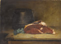 Fine Art - Painting, European:Antique  (Pre 1900), Circle of JEAN BAPTISTE SIMEON CHARDIN (French 1699-1779). StillLife with Meat, Parsley and Jug, 18th century. Oil on c...