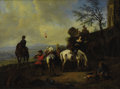 Fine Art - Painting, European, Manner of NICOLAES BERCHEM (Dutch 1620-1683). Italianate Landscape with Figures Preparing for a Hunt. Oil on canvas. 10-...