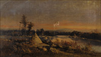 FORSHAW DAY (Canadian 1837-1903) Indian Encampment Oil on canvas 9-1/4 x 16-1/4 inches (23.4 x 41