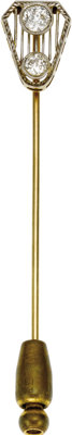 Edwardian Diamond, Platinum-Topped Gold Stickpin  The stickpin features mine-cut diamonds weighing a total of approximat...