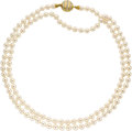 Estate Jewelry:Necklaces, Cultured Pearl, Diamond, Gold Necklace. The necklace is composed ofcultured pearls measuring 7.00 - 6.50 mm, forming a si... (Total: 1Item)