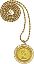 Estate Jewelry:Necklaces, Gold Coin, Gold Pendant-Necklace. The pendant features a Canadian$20 Queen Elizabeth II gold coin, dated 1967, resting wi... (Total:1 Item)