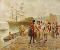 CARLOS ALONSO PÉREZ (Spanish) The Departure Oil on canvas 23-1/2 x 28-1/2 inches (59.7 x 72.4 cm)