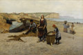 Paintings, JOHN HENRY DOLPH (American 1835-1903). Mending Nets, 1875. Oil on canvas. 32 x 48 inches (81.3 x 121.9 cm). Signed lower...