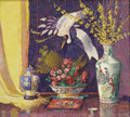 Fine Art - Painting, American:Modern  (1900 1949)  , LILLIAN BURK MEESER (American 1864-1942). Still Life with Rosesand Chinese Porcelain. Oil on original unlined canvas. 3...