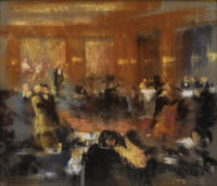 FRENCH SCHOOL (Nineteenth Century) Interior of a Ballroom Pastel on paper supported by wood board