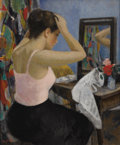 Paintings, FRANÇOIS GALL (French 1912-1987). Jeune Femme à sa Toilette. Oil on canvas. 24-1/2 x 20 inches (62.2 x 50.8 cm). Signed ...