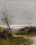 Fine Art - Painting, European:Modern  (1900 1949)  , EUGENE GALIEN-LALOUE (French 1854-1941). Along the Riverbank,Normandy. Oil on canvas. 18 x 15 inches (45.7 x 38.1 cm). ...