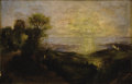 Fine Art - Painting, American, HUGH BOLTON JONES (American 1848-1927). Village at Sunset.Oil on panel. 8-1/2 x 12-1/2 inches (21.6 x 31.8 cm). Signed ...(Total: 2 Items)