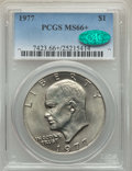 Eisenhower Dollars, 1977 $1 MS66+ PCGS. CAC. PCGS Population: (977/22 and 37/0+). NGC Census: (320/7 and 1/0+). CDN: $50 Whsle. Bid for problem...