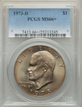 Eisenhower Dollars, 1973-D $1 MS66+ PCGS. PCGS Population: (346/13 and 17/0+). NGC Census: (85/3 and 0/0+). CDN: $190 Whsle. Bid for problem-fr...