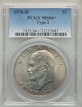 Eisenhower Dollars, 1976-D $1 Type Two MS66+ PCGS. PCGS Population: (934/28 and 21/1+). NGC Census: (513/20 and 0/0+). CDN: $45 Whsle. Bid for ...