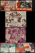 "Movie Posters:War, The Dawn Patrol & Others Lot (First National, 1930). Heralds (9) (6"" X 4.25"" -10.75""-5.5"") War.. ... (Total: 9 Items)"