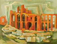 BROR UTTER (1913-1993) Untitled Ruins with Arches, 1957 Oil on linen 28 x 36 inches (71.1 x 91.4