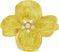 Estate Jewelry:Brooches - Pins, Diamond, Gold Brooch, Tiffany & Co.. The brooch, designed as adogwood blossom, features full-cut diamonds weighing a tota...(Total: 1 Item)