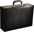 Estate Jewelry:Objects d'Art, Gentleman's Crocodile Leather, Yellow Metal Travel Case. The travel case features an extravagant black crocodile skin, enh... (Total: 1 Item)