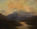 Fine Art - Painting, American:Antique  (Pre 1900), LESLIE JAMES SKELETON (American 1848-1929). View of the RockyMountains at Sunset. Oil on canvas. 13 x 16 inches (33.0 x...