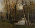 Fine Art - Painting, European:Modern  (1900 1949)  , LOUIS AIME JAPY (Swiss 1840-1916). River Landscape with Birch Trees. Oil on canvas. 26 x 32 inches (66.0 x 81.3 cm). Sig...