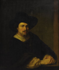 Follower of FERDINAND BOL (Dutch 1616-1680) Portrait of a Man with Hat Oil on canvas 35-1/2 x 30
