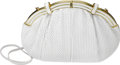 Estate Jewelry:Purses, White Leather, Yellow Metal Handbag, Judith Leiber. The handbagfeatures woven white leather, completed by a yellow metal ...(Total: 1 Item)