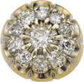 Estate Jewelry:Rings, Gentleman's Diamond, Gold Ring. The ring, designed as a starburst,features a round brilliant-cut diamond weighing approxi... (Total:1 Item)