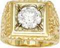 Estate Jewelry:Rings, Gentleman's Diamond, Gold Ring. The ring features a round brilliant-cut diamond measuring 9.45 - 9.40 x 6.00 mm and weighi... (Total: 1 Item)