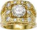 Estate Jewelry:Rings, Gentleman's Diamond, Gold Ring. The ring features a roundbrilliant-cut diamond measuring 9.60 - 9.45 x 5.72 mm and weighi...(Total: 1 Item)