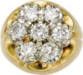 Estate Jewelry:Rings, Gentleman's Diamond, Gold Ring. The ring features a cluster offull-cut diamonds weighing a total of approximately 3.50 ca...(Total: 1 Item)