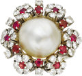 Estate Jewelry:Rings, Mabe Pearl, Diamond, Ruby, White Gold Ring. The ring, designed witha floral motif, features a mabe pearl, encircled by fu... (Total: 1Item)