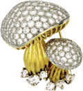 Estate Jewelry:Brooches - Pins, Diamond, Platinum, Gold Brooch. The brooch, designed as twomushrooms, features full-cut diamonds weighing a total of appr...(Total: 1 Item)