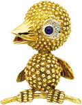 Estate Jewelry:Brooches - Pins, Diamond, Sapphire, Gold Brooch. The brooch, designed as a bird on abranch, features a sapphire cabochon eye, enhanced by ... (Total: 1Item)