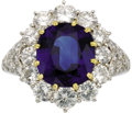 Estate Jewelry:Rings, Sapphire, Diamond, Gold, Platinum Ring. The ring features an oval-shaped sapphire measuring 11.00 x 9.85 x 5.40 mm and wei... (Total: 1 Item)