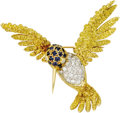Estate Jewelry:Brooches - Pins, Diamond, Sapphire, Gold Brooch. The brooch, designed as a hummingbird, features single-cut diamonds weighing a total of ap... (Total: 1 Item)