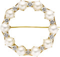 Estate Jewelry:Brooches - Pins, Cultured Pearl, Diamond, Gold Brooch. The brooch, designed as a circle, features full-cut diamonds weighing a total of app... (Total: 1 Item)