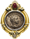 Estate Jewelry:Brooches - Pins, Ancient Coin, Ruby, Diamond, Gold Pendant-Enhancer. The broochfeatures an Ancient coin, circa 245 AD, depicting Philip II...(Total: 1 Item)