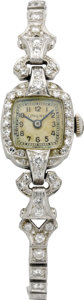 Timepieces:Wristwatch, Longines Lady's Diamond, Platinum Bracelet Watch, circa 1948. Case:23 x 14 mm, cushion-shaped platinum with diamonds, sin... (Total: 1Item)