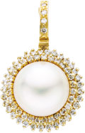 Estate Jewelry:Pendants and Lockets, Diamond, Mabe Pearl, Gold Pendant-Enhancer. The enhancer features amabe pearl encircled by full-cut diamonds weighing a t... (Total: 1Item)