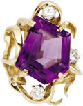 Estate Jewelry:Rings, Amethyst, Diamond, Gold Ring. The ring features a modifiedpentagon-shaped amethyst weighing approximately 4.50 carats, en...(Total: 1 Item)
