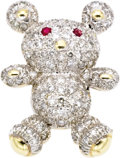 Estate Jewelry:Brooches - Pins, Diamond, Ruby, Gold Brooch. The brooch, designed as a teddy bear, features full-cut diamonds weighing a total of approxima... (Total: 1 Item)