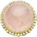 Estate Jewelry:Rings, Rose Quartz, Cultured Pearl, Gold Ring. The ring features a rosequartz cabochon measuring 25.00 x 25.00 x 11.65 mm and we...(Total: 1 Item)