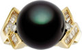 Estate Jewelry:Rings, Black South Sea Cultured Pearl, Diamond, Gold Ring. The ringfeatures a black South Sea cultured pearl measuring 13.50 - 1...(Total: 1 Item)