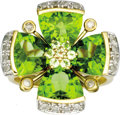 Estate Jewelry:Rings, Peridot, Diamond, Gold Ring. The ring, designed as a flower,features triangular and round-cut peridot, enhanced by full-c...(Total: 1 Item)