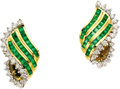 Estate Jewelry:Earrings, Emerald, Diamond, Gold Earrings. Each earring features square-cutemeralds, enhanced by full-cut diamonds, set in 18k yell... (Total:1 Item)