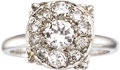 Estate Jewelry:Rings, Diamond, White Gold Ring. The ring features a round brilliant-cut diamond weighing approximately 0.50 carat, enhanced by f... (Total: 1 Item)