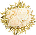 Estate Jewelry:Brooches - Pins, Coral, Diamond, Gold Pendant-Brooch. The pendant-brooch featurescarved coral, depicting butterflies and flowers, enhanced...(Total: 1 Item)