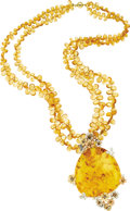 Estate Jewelry:Necklaces, Amber, Diamond, Citrine, Tri-Color Gold Pendant-Necklace. Thependant features a large amber cabochon measuring 54.00 x 50...(Total: 1 Item)