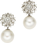Estate Jewelry:Earrings, South Sea Cultured Pearl, Diamond, White Gold Earrings. Eachearring is highlighted by a South Sea cultured pearl measurin...(Total: 1 Item)