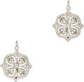 Estate Jewelry:Earrings, Diamond, White Gold Earrings. Each earring features full-cutdiamonds weighing a total of approximately 0.35 carat, set in...(Total: 1 Item)